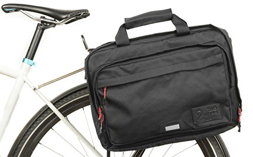 Two Wheel Gear - Pannier Briefcase Convertible - Waterproof Coated - 2 in 1 - Bike Commuting & Laptop Bag (Military Waxed Canvas - Black)