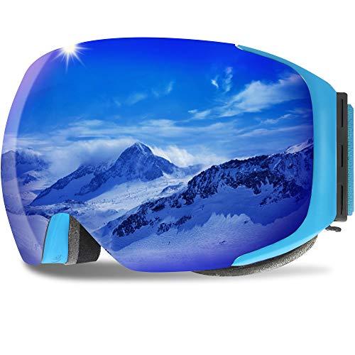 GANZTON Skibrille Anti Fog Snowboardbrille OTG Brillenträger UV-Schutz Snow Snowboard Brille Verspiegelt mit Magnetischer Gläser,Helmkompatible für Damen und Herren,Jungen und Mädchen(Blau)