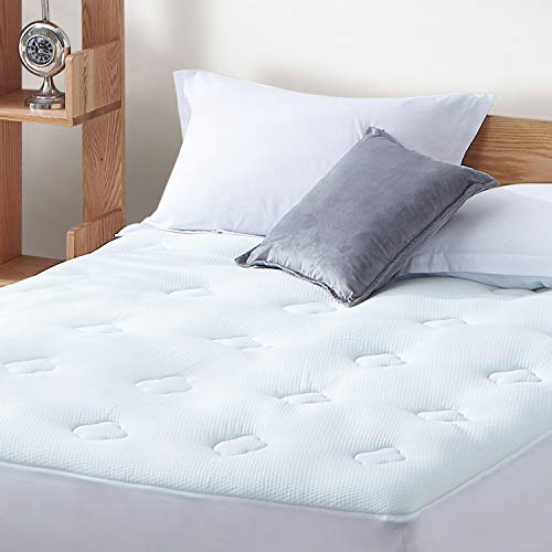Hansleep Quilted Mattress Pad Cover Twin XL, Bamboo Fluffy Mattress Protector with Deep Pocket, Breathable Cooling Air Mattress Topper with Memory Foam Fillings, 39x80 Inches