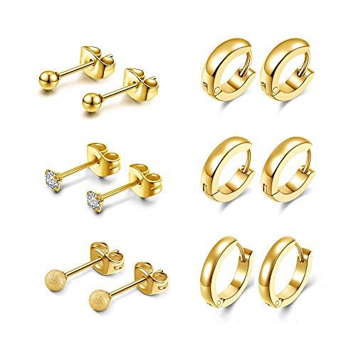 Sunligoo Juego de 6 pares de pendientes de aro de acero inoxidable con circonita cúbica para mujer, oro y diamante redondo