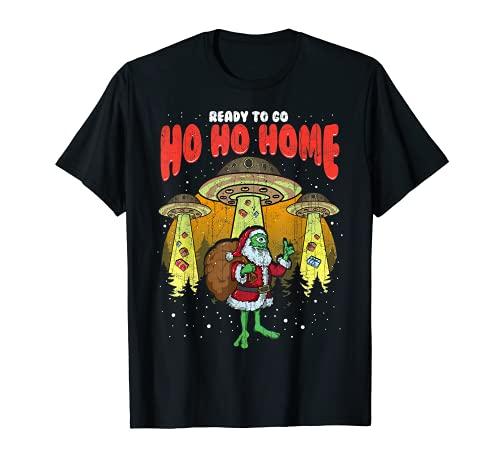 Babbo Natale Alien Funny Christmas Tree UFO Tractor Beam Maglietta