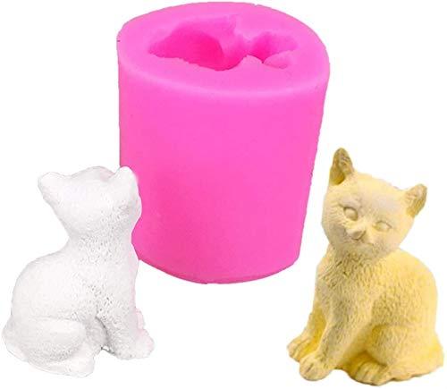 hwljxn 3D Katze Form Kuchenform Kätzchen Silikon Schokolade Süßigkeiten Backform DIY Seife Kerze Machen Werkzeug 3D Kleine Katze Kerze Mold Seife Form Schokoladenform DIY Seifenform Kuchen Dekorieren