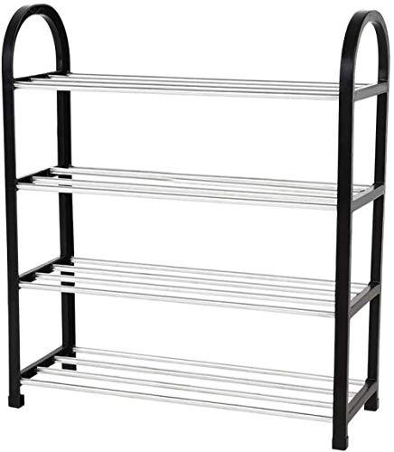 A-Generic 3 Capas Zapatero Storage Rack Independiente Metal y Aluminio para el Dormitorio Closet Bedroom Entrada-4 terceros