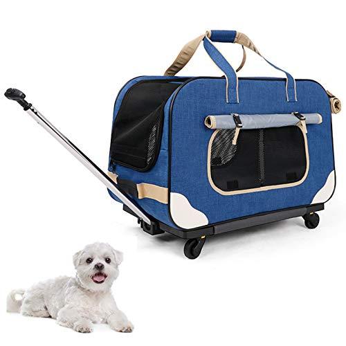 Cochecito De Viaje para Mascotas, Perro, Gato, Caja De Transporte para Perros con Ruedas, Bolsa De Viaje para Mascotas con Asa Telescópica, Bolsa De Transporte para Perros,B