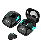 Wireless Headset with Bluetooth 5.1 Noise Reduction Headset and LED Display, Suitable for Gaming, Low Latency (Black)