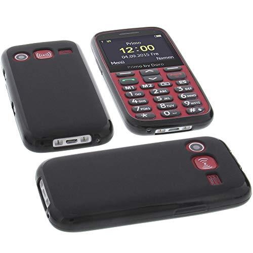 Tasche für Doro Primo 366 Hülle Gummi TPU Schutz Handytasche schwarz