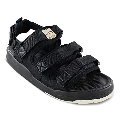 Men Casual Soft Sole Beach Hiking Sandals,Summer Althetic Sports Sandals for Men Open-Toe Sandals,Flat Outdoor Sandals with Three Straps Black