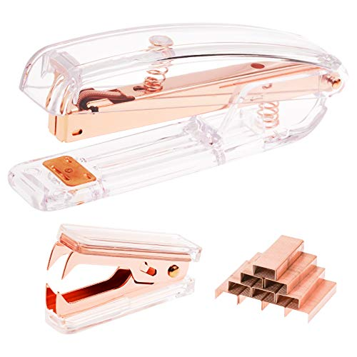Jmkcoz Rose Gold Acrylic Desktop Stapler Staple Remover with 1000pcs Rosegold Staples for Home School Office Stationery Desk Supplies Accessory Kit
