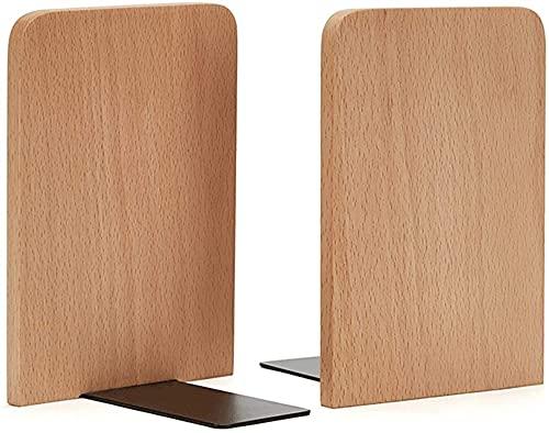 LQ Boek eindigt Solid Wood Bookends Een paar antislip-boekensteunen voor Office Home Desktop Organizer Opslag Stopper Boek map (Color : Natural, Size : 17 * 12CM)
