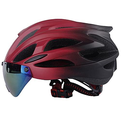 Casco Bluetooth para bicicleta, Casco de carretera Bluetooth para ciclismo, Casco de seguridad transpirable para hombres y mujeres con Bluetooth inteligente incorporado con gafas y visera para el sol(