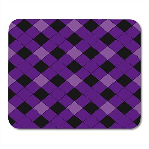 AOHOT Mauspads Purple Plaid Halloween Argyle Grid Pattern Tartan Basket Black Check Mouse pad 9.5