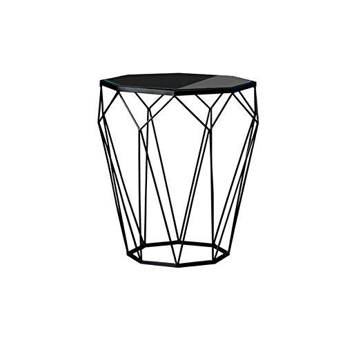 HYL Nachtkommode Kleiner Couchtisch Nordic Marmortisch Ausgeglichenes Glas-Wohnzimmer-Sofa Eisen Corner Tischleuchte Grenzen Beistelltisch (Color : D)
