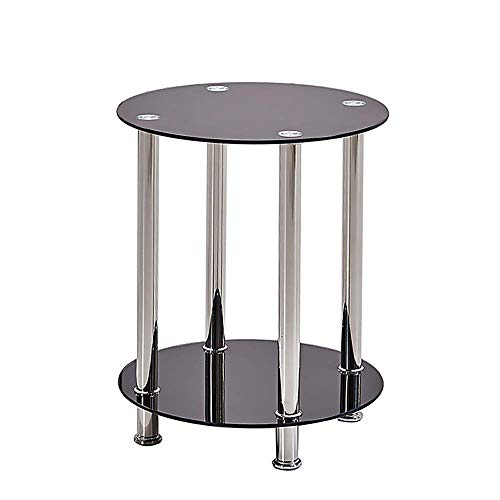 Huisen Furniture Modern Living Room Side End Table with Storage Small Beside Sofa Couch Coffee Tea Round Table Black Tempered Glass 2 Tiers for Bedroom Corner 1pcs