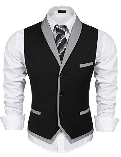 Burlady Herren V-Ausschnitt Ärmellose Westen Slim Fit Weste Anzug Business Anzugweste (EU 48(Hersteller:S), A-Schwarz)