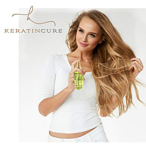 Keratin Cure Shine Hair Serum Anti Frizz Vitamin Silicone Protect against Flat Irons Hot Blow Dry Straightening Prevent Damage Breakage, Restore Shine Silk Moist Smooth Hair 120ml For Man Woman & kids