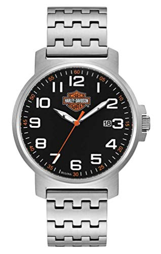 Harley-Davidson Reloj de hombre de fácil lectura con esfera negra, acero inoxidable plateado 76B187