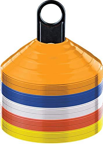 RHINOS sports Markierungshütchen | 50er Set | inkl. Halter | Farben orange, blau, weiß, rot, gelb | geeignet für Koordination und Agilität