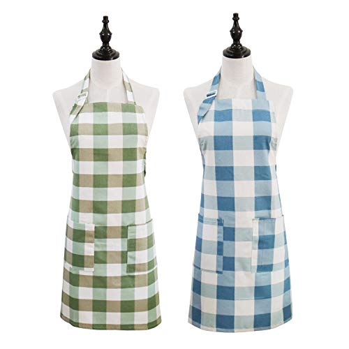 2 Pack Cotton Linen Aprons, Classic Plaid Kitchen Chef Aprons with 2 Pockets for Cooking Baking Grilling - Perfect Birthday, Mother's Day Apron Gifts for Wife Husband Girlfriend Boyfriend Mom Dad