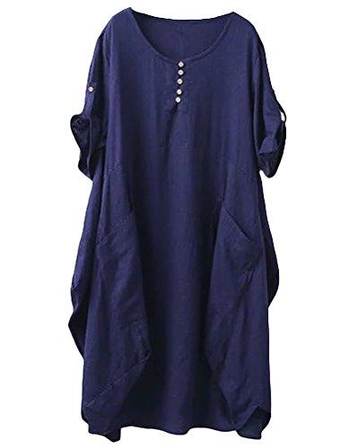 Minibee Women's Ruffle Oversize Casual Midi Dresses with Pockets Navy Blue M