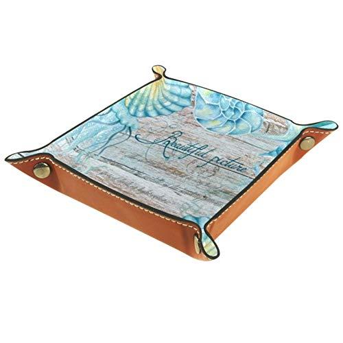 TIZORAX Caja de almacenamiento de cuero con caracol de mar profundo organizador de joyas para llaves de monedas
