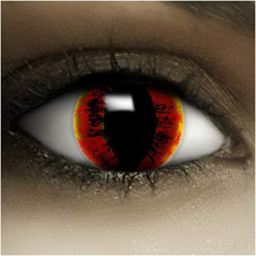Farbige Kontaktlinsen ohne Stärke Sauron + Kunstblut Kapseln + Kontaktlinsenbehälter, weich ohne Sehstaerke in weiß rot schwarz gelb, 1 Paar Linsen (2 Stück)