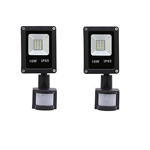 VINGO® 2X 10W Kaltweiß LED Strahler Fluter Flutlicht mit Bewegungsmelder außenstrahler Baustrahler