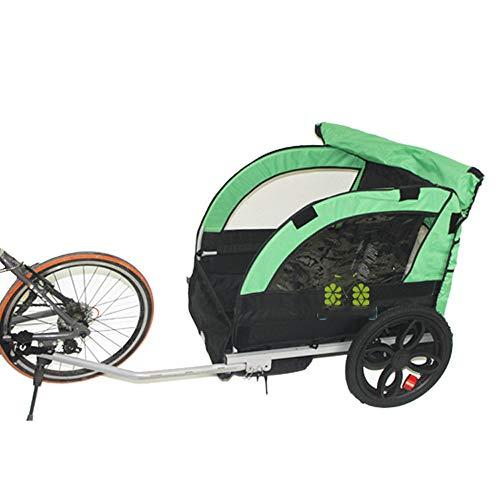 QWERTOUY 2 Kinder/kind fiets sleeptouw achter aanhanger, kinderwagen fiets driewieler met dubbele zitplaats, aluminiumlegering frame en luchtband