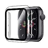 Funda para Apple Watch 44mm Serie 6/Serie SE/Serie 5/Serie 4+Cristal Templado, Qianyou PC Case y Vidrio Protector Pantalla Integrados, Anti-Rasguños Slim Bumper Case Cover para iWatch (Transparente)
