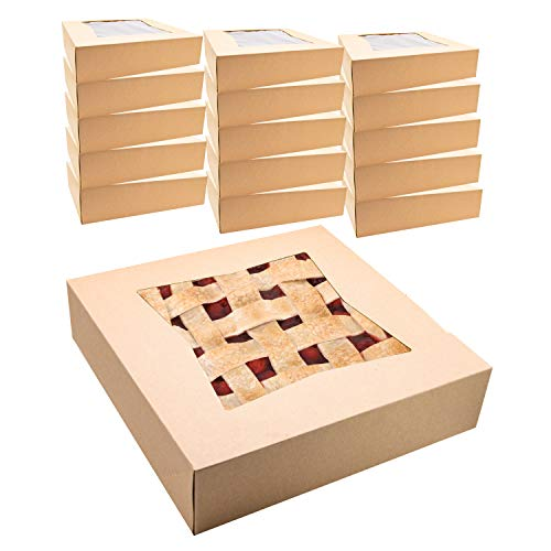 """Kraft Pie Boxes with Window, 10"""" x 10"""" x 2 ½"""" Width, Disposable, 15 Bakery Box Container Set, Cake Pastries Doughnuts Cookies Pies Cheesecakes"""