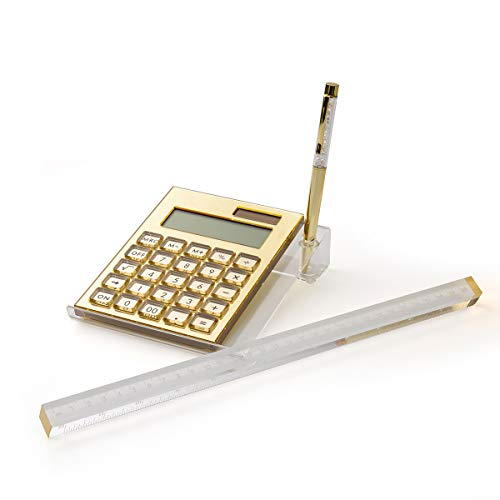 EXPUTRAN Acryl-Taschenrechner-Set, 4-teilig, solarbetrieben, LCD-Display, 12-stellig, Acryl-Ständer & Stift + kostenloses stylisches Acryl-Lineal, Büro-Tischzubehör (Gold)