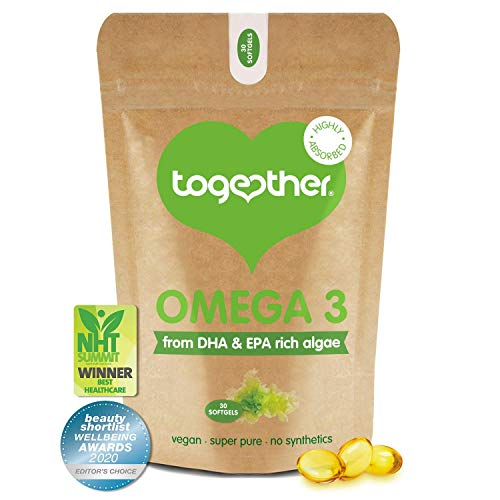 Algae Omega 3 – Together Health – Pure Algae Omega 3 – Unique Plant Source of DHA & EPA – Vegan Friendly - Made in The UK – 30 Softgels