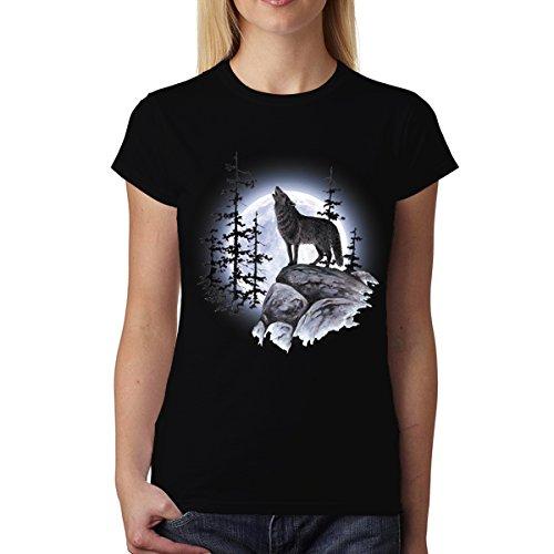 avocadoWEAR Lobo Aullando Luna Llena Mujer Camiseta Negro M