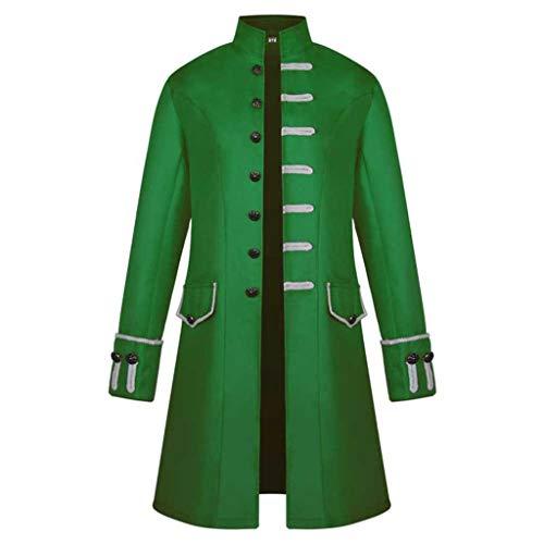 AmyGline Herren Mantel langärm Mode Retro Steampunk Smoking Herren Uniform Kleid-Herren Mantel Frack Jacke Gothic Gehrock Uniform Kostüm Praty Outwear