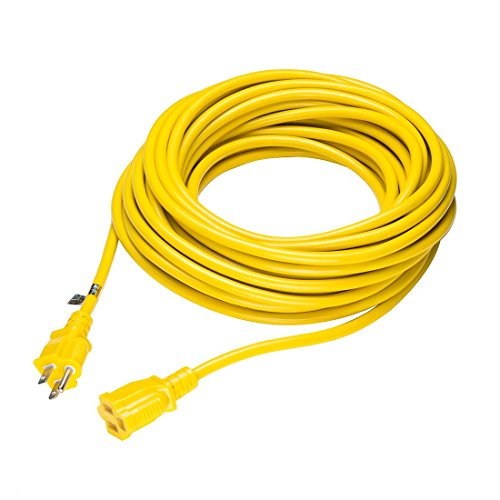 Cable alargador eléctrico 13 A 16 AWG SJTW 50Ft interior exterior amarillo...