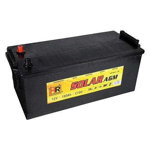 HR Solar AGM | 12V 180Ah Versorungsbatterie als Wohnmobilbatterie Bootsbatterie Solarbatterie Wohnwagenbatterie VRLA Vliesbatterie