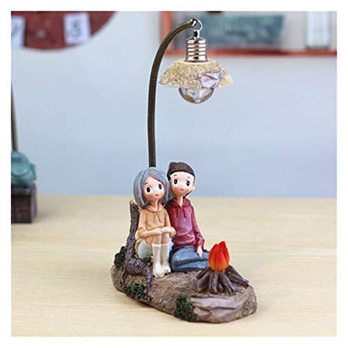 Yanqhua Lámpara de Techo Resina Artesanía Pareja Noche Luz Adornos Creativo Retro Nightlight Figurines Miniatura Lámpara (Emitting Color : Fire Lovers)