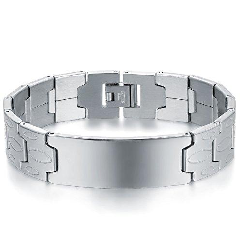 JewelryWe Schmuck Herren Armband, 16MM groß Breit Glänzend Poliert Link Gliederarmband Charm Armreif Armkette, Edelstahl, Silber