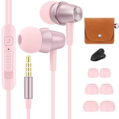 Bulees - Auricolari per bambine e ragazze, con microfono e controllo del volume, piccoli auricolari per iPhone 6 6s, smartphone Android, lettori MP3 (rosa)