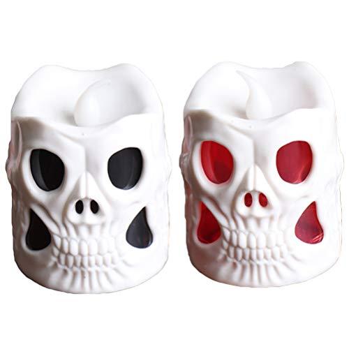 Amosfun - Juego de 2 Luces LED con Forma de Calavera, para Halloween, Fiestas, mesas, Habitaciones, Bares, etc. (Blanco)
