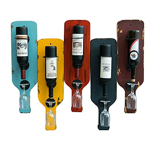 Botelleros de Hierro Metálico para Bares Paquete de 5 botelleros de metal para montar en la pared, botelleros, colgadores para copas, soporte para copas de vino para decoración de exhibición en el