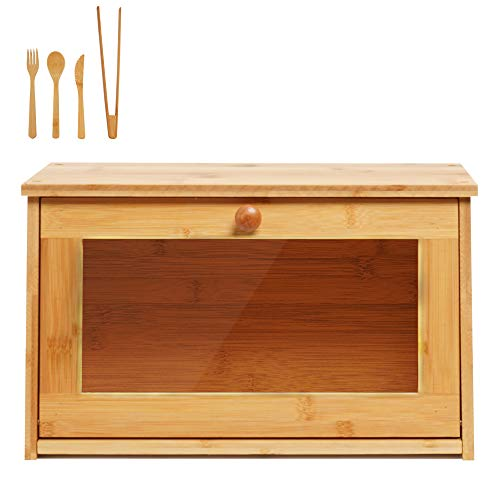 Bamboo Bread Box Bin with Clear Front Window, Natural Color Light Bread Holder Food Bread Storage for Kitchen Countertop