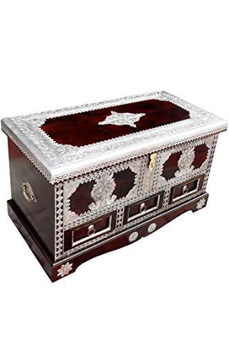 Orientalische Truhe Kiste aus Holz Sudhir 90cm   Vintage Sitzbank mit Aufbewahrung für den Flur   Aufbewahrungsbox mit Deckel im Bad   Betttruhe als Kissenbox oder Deko im Schlafzimmer