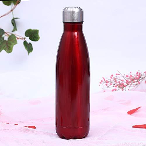 Simmia Sport Sportflasche Thermosflasche Thermoskanne Trinkflasche Wasserflasche Isolierflasche,Sportflasche Bowling 304 Isolierung Kaltwasserflasche Colaflasche, rot, 350ML