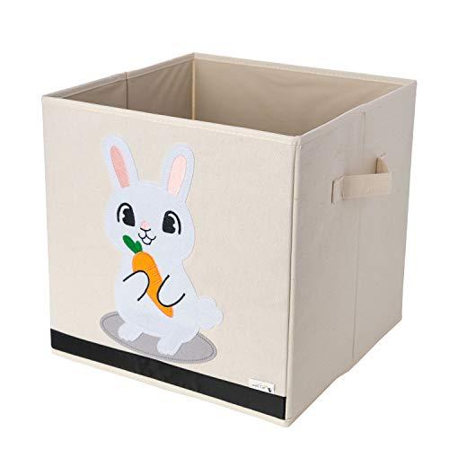 Boîte de rangement / Cube / Organiseur - Design de lapin - 33x33x33cm - Convient aux étagères de rangement multiples - La boîte de rangement d'animal parfaite pour enfants par Sun Cat