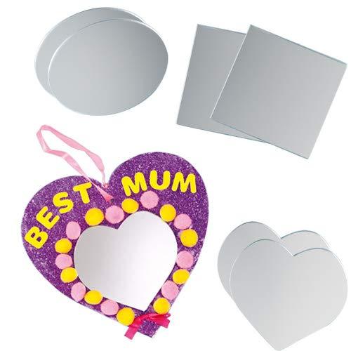 Baker Ross Acrylspiegel - Herz - Oval - Quadrat - für Kinder zum Basteln -  12 Stück