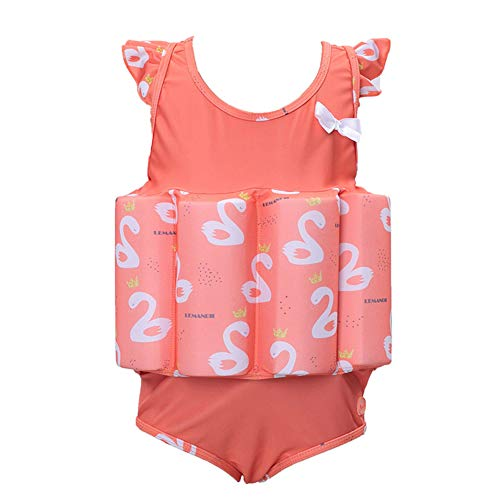 SXSHUN Kinder Badenanzug Schwimmhilfe Unisex Schwimmkraft Schwimmanzug Mädchen Jungen Baby mit Schwimmflügel Schwimmbrille Badekappe, Orange, 122/128 (Etikettengröße:130)