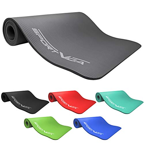 SportVida Yogamatte Fitnessmatte für Yoga Pilates Gymnastik | Schaumstoff NBR | 180 x 60 x 1 cm | Isomatte für Camping Zelt (Grau)