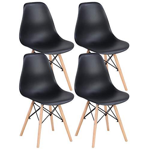 INJOY LIFE Esszimmerstühle Mid Century Modern Stuhl Retro Stil Kunststoff Stühle Seitenstühle für Küche Wohnzimmer Esszimmer Set von 4 (schwarz)
