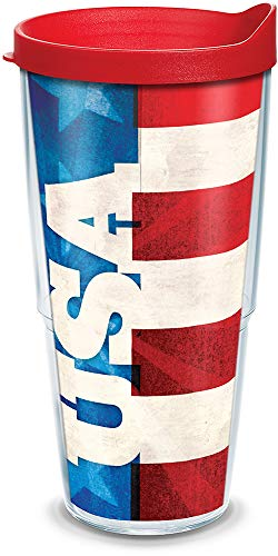 Tervis USA Insulated Tumbler with Wrap and Red Lid, 24oz, Clear
