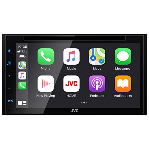 """JVC KW-V660BT Apple CarPlay Android Auto DVD/CD Player w/ 6.8"""" Capacitive Touchscreen, Bluetooth Audio and Hands Free Calling, MP3 Player, Double DIN, 13-Band EQ, SiriusXM, AM/FM Car Radio"""